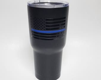 Thin Blue Line Stainless Steel Tumbler, Police Wife Cup, Police Support Tumbler