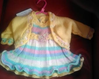 Hand knitted dress and cardigan set, knitted to fit a baby girl aged 0-3 months old