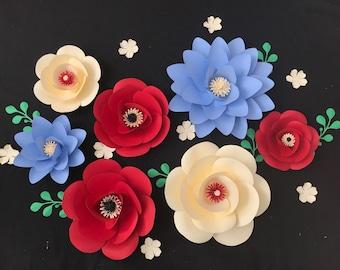 Giant Paper Flower Backdrop, Flower Backdrop Wall, Flower Backdrop, Red Rose Backdrop, Red Paper Flower Backdrop, Red White Blue Backdrop