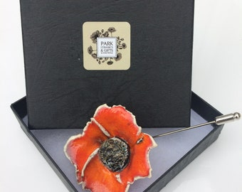 Orange poppy flower Brooch -Handmade Ceramic jewellery