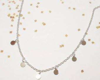 Dainty boho necklace with silver sequins