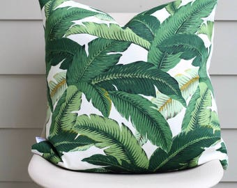 "22"" x 22"" Banana Leaf Pillow Cover (Neutral Back) - Tommy Bahama Fabric, COVER ONLY"