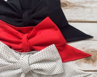 Gorgeous Wrap Trio (3 Gorgeous Wraps)- Noir, Crimson & Dottie Gorgeous Wraps; headwraps; fabric head wraps; bows