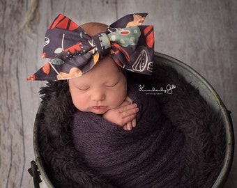 MIDNIGHT GREY FLORAL Gorgeous Wrap- headwrap; fabric head wrap; head wrap; boho; newborn headband; baby headband; toddler headband