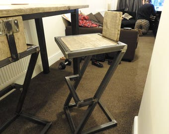 Reclaimed wood and metal breakfast bar stool