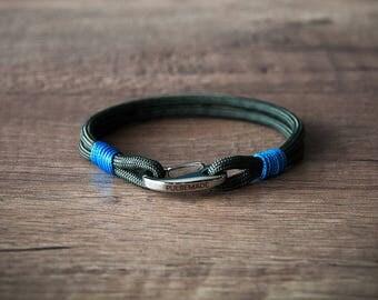 Sailor Bracelet men-Women, jewelry for men women, nautical bracelet olive drab-blue, Christmas gift, bracelet for her and him