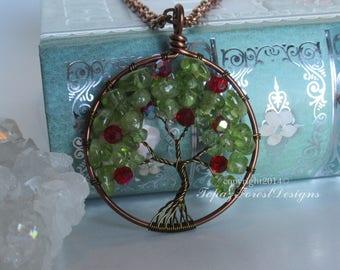 Apple Tree of Life Pendant ~ Peridot Tree ~ August Birthstone