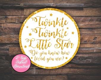 Twinkle Twinkle Little Star, Thank you Tags, favor tags, twinkle tags, star tags
