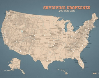 US Skydiving Dropzones Map 18x24 Poster
