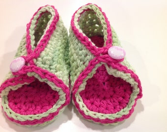 Green and pink bootie sandals with owl button
