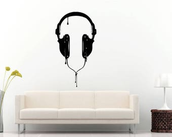 Audio Headphones Studio Sound Disk Jockey Dj Headset Music Wall Sticker Decal Vinyl Mural Decor Art L2297