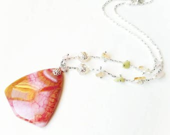 Yellow Pink pendant gemstone chain boho necklace transparent agate beads locket gemstone jewelry gift for her for Mom unique beaded glamor
