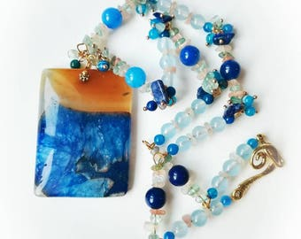Gift for Mom agate blue locked gemstone chain necklace quartz boho jewelry brown gold lapis lazuri gift for her pendant druzy vibrant colors