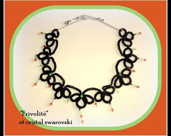Necklace is made with needle tatted and Swarovski Crystal.