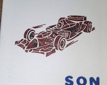 Racing car glittered canvas