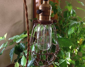 Vintage Industrial Cage Light.  Machine Age Pendant Trouble Lam -Industrial Lighting
