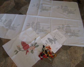 6 vtg. cardinal quilt blocks*1-finished and 5 for you to do-extra floss included