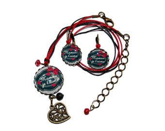 """Duo mother's day necklace and earrings """"MOM I love you"""""""