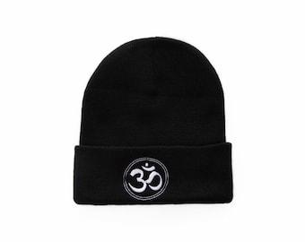 Om Symbol Beanie, Om Symbol Hat, Ohm Symbol, Yoga Gifts, Embroidered Beanie