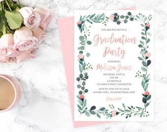 Graduation Invitation, Floral Graduation Party Invitation, Printable Graduation Invitation, Class of 2017 Invitation