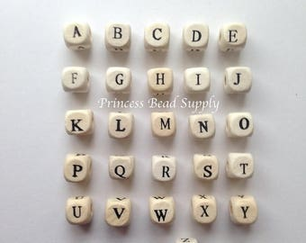 SALE Wooden Alphabet Beads, Natural Wood Letter Beads, Wood Alphabet Beads, You Choose The Letters! Wooden Letter Beads