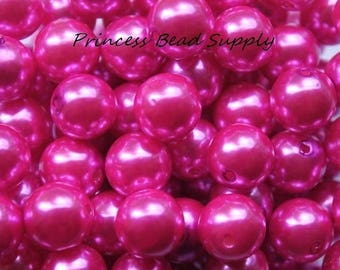 SALE 12mm Hot Pink Pearl Beads Set of 20 or 50,  Hot Pink Pearls, Chunky Bubble Gum Beads, Gumball Beads, Acrylic Beads