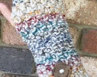 Handmade knitted rainbow Handwarmers, Fingerless gloves, wristwarmers, blue gloves, mens gloves, green gloves, red knitted mittens