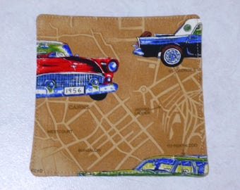 Drink Coaster.   Vintage touring cars.   Fully washable cotton fabric.   Fun, stylish and practical.