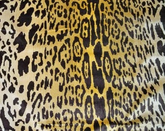 SCALAMANDRE LEOPARDO Leopard Silk Velvet Fabric 2 Yards Ivory Gold Brown