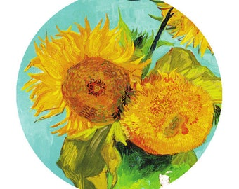 "Bright & Cheery Sunflowers Van Gogh Painting Art Large Round Scrapbooking 2"" Stickers"