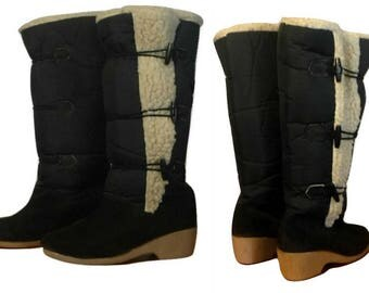 Women's boots, tall boots, snow boots, winter boots, knee high boots, Sherpa, canvas, toggle, outdoor boots, leather, ladies boots, shoes
