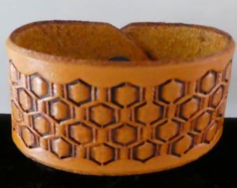 Basket Stamped Leather Cuff Bracelet