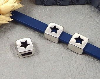 10 pearls spends leather star silver plated 5mm flat leather