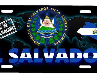 """El Salvador Aluminum License Plate Placa  6"""" x 12"""""""