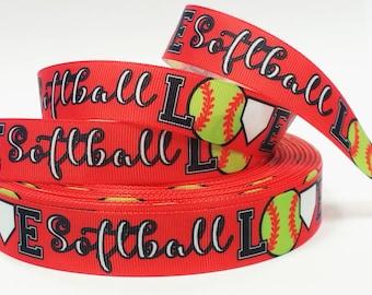 "7/8"" inch LOVE Softball on Red Balls Sports Soft Ball Printed Grosgrain Ribbon for Hair Bow - Original Design"