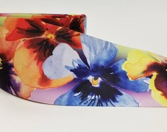 "3"" inch Cute Purple Orange Yellow Blue Flowers Floral -  Pianies  -  Printed Grosgrain Ribbon for Hair Cheer Bow"