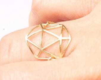 Ring gold plated chain, geometric hallmarked Life.