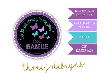 Butterfly Birthday Party Personalized Thank You Favor Tags - Purple and Teal - Digital File - J013