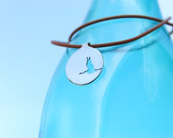 "33* ""Flying high Crane"" - silver coin, necklace of Sterling Silver 925 in leather cord"
