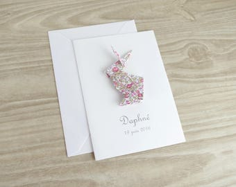 Make birth announcement - baptism - thank you card for daughter - liberty Eloise handmade origami rabbit