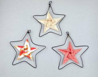 Trio of stars in wire and origami - original Christmas tree decoration or wall decor - living room - baby room