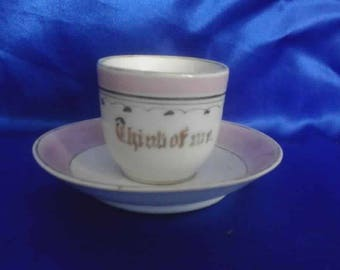 Victorian Pink Lustre and Gilding Souvenir Cup & Saucer 'Think of Me'