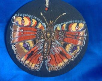 Butterfly on Welsh Slate Handpainted Wallhanger