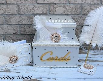 wedding card box, bling card box, Guest Book, Feather Card Box, card box for wedding, wedding gift box, three tier card box