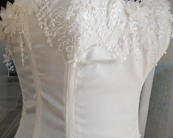 Pretty Ecru satin corset, edging on the upper front chest with hand beaded Ecru guipure lace