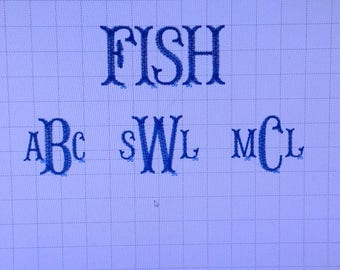 Custom Monogram Set Up For Embroidery    Embroidery Machine Design    Custom Embroidery  Monogramming  Fishtail Font   Embroidery Designs