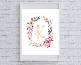 """Floral Gold Glitter Monogram """"K"""" Art Print"""