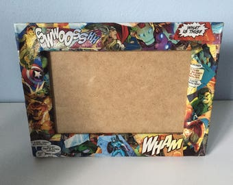 Unique Marvel/DC Comic Book Decoupaged/Upcycled Photograph Frame - Wedding - Birthday - Gift