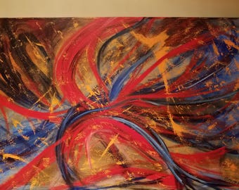 """Original Hand Painted Abstract Non Objective Art Acrylic On Canvas 36"""" x 24"""""""