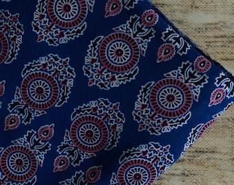 Ajrakh Fabric, Cotton Fabric, Printed Cotton, Hand Block Print Fabric, Cotton Fabric by the yard, Indian Fabric, Block Printed Fabric